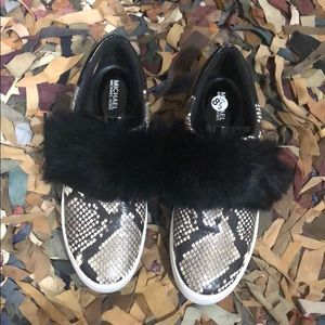 Michael Kors snakeskin print and fur tennis shoes
